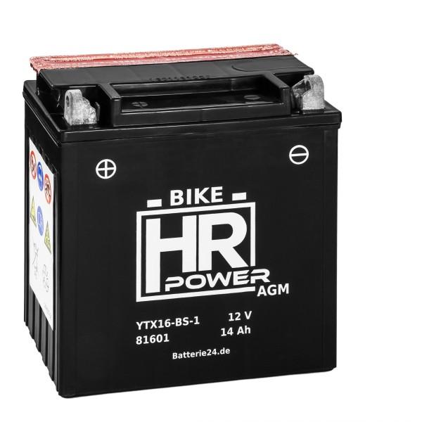 HR Bike Power AGM Motorradbatterie YTX16-BS-1 81601 12V 14Ah