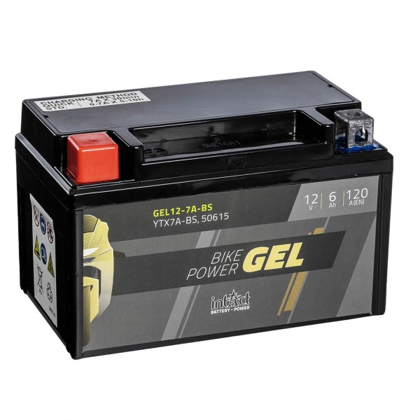 intAct Bike-Power Motorradbatterie GEL YTX7A-BS 12V 6Ah 50615 Gel12-7A-BS
