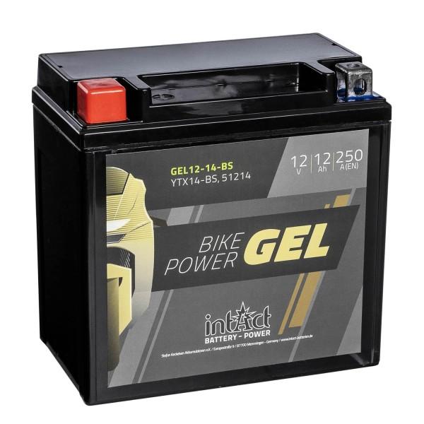 intAct Bike-Power Motorradbatterie GEL YTX14-BS 12V 12Ah 51214 Gel12-14-BS