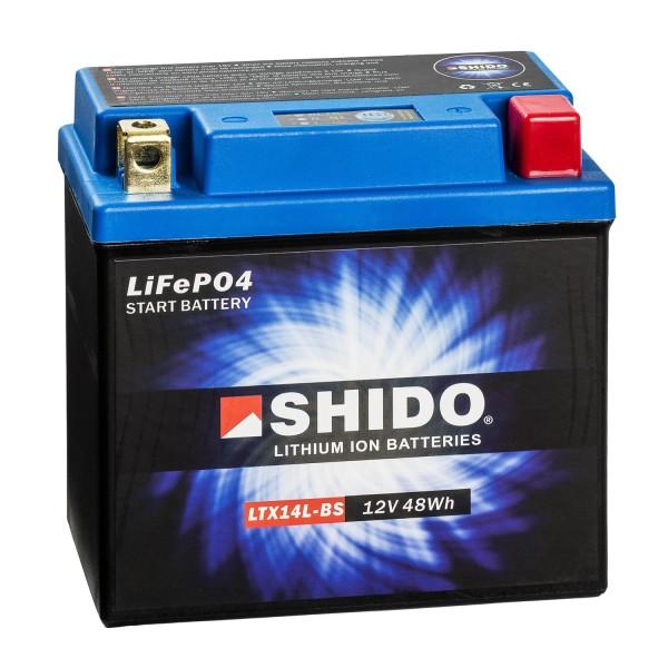 Shido Lithium Motorradbatterie LiFePO4 LTX14L-BS 12V