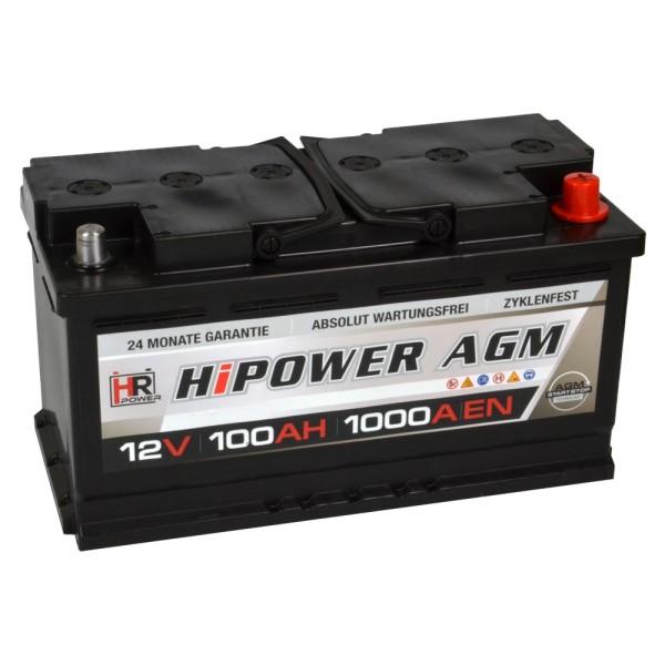 HR HiPower Autobatterie AGM Batterie 12V 100Ah