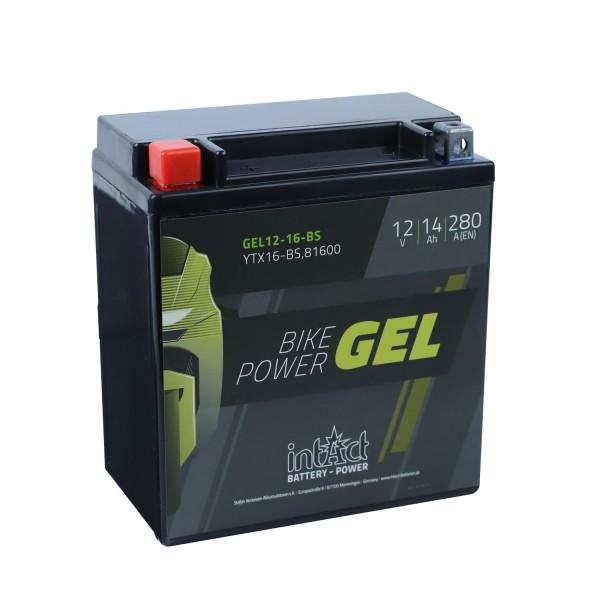 intAct Bike-Power Motorradbatterie GEL YTX16-BS 12V 14Ah Gel12-16-BS