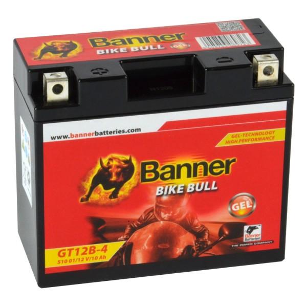 Banner Bike Bull Motorradbatterie GEL YT12B-BS GT12B-4 12V 10Ah 51001