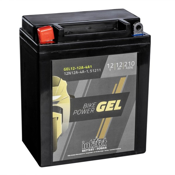 intAct Bike-Power Motorradbatterie GEL 12N12A-4A-1 12V 12Ah 51211 Gel12-12A-4A1