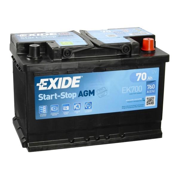 Exide EK700 AGM Autobatterie 12V 70Ah