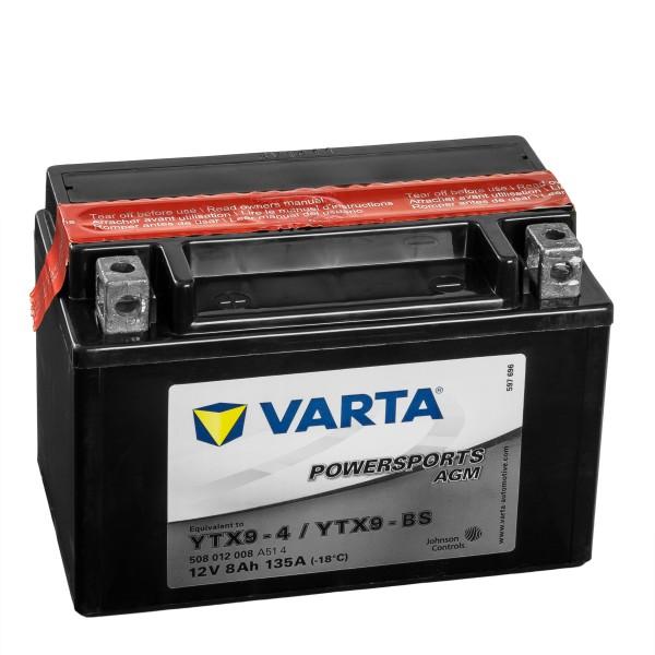VARTA Powersports AGM Motorradbatterie YTX9-4 YTX9-BS 50812 12V 8Ah