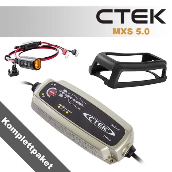 CTEK KOMPLETTPAKET MXS 5.0 12V 0,8A/5A Ladegerät+Ladezustandsanzeige Ringschuh M6+Bumper 60