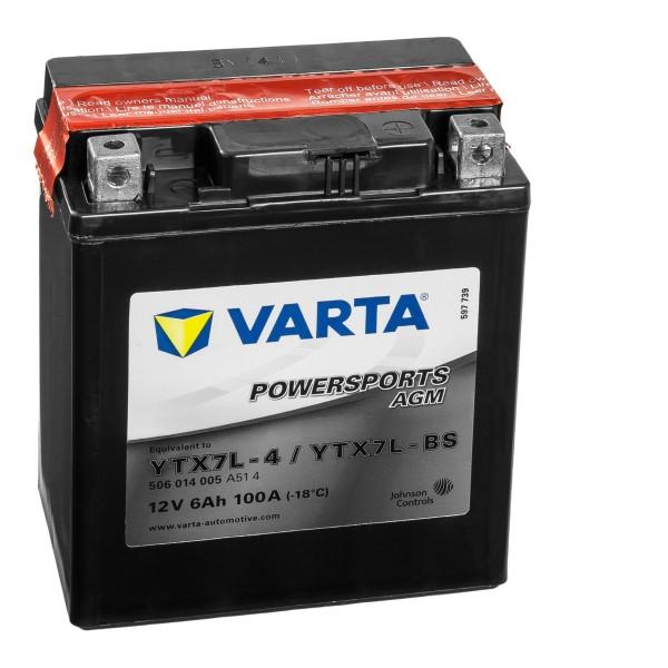 VARTA Powersports AGM Motorradbatterie YTX7L-4 YTX7L-BS 50614 12V 6Ah