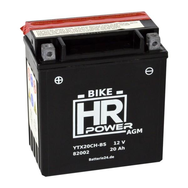 HR Bike Power AGM Motorradbatterie YTX20CH-BS 82002 12V 20Ah