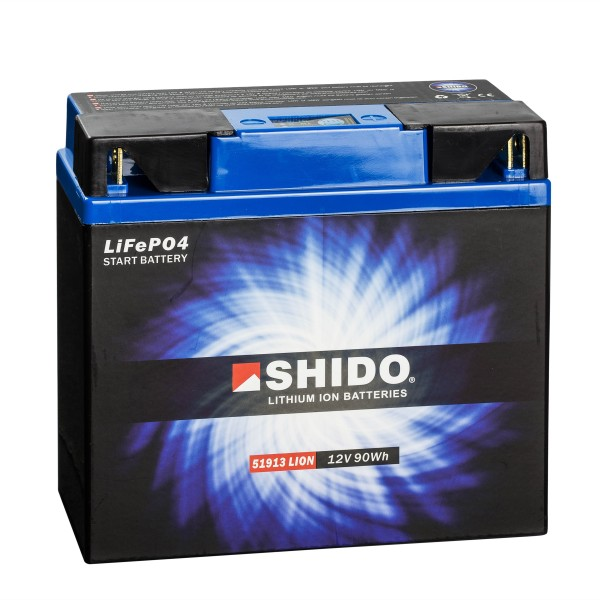 Shido Lithium Motorradbatterie LiFePO4 51913 12V
