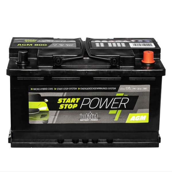 intAct Start-Stop Power AGM800 AGM Autobatterie 12V 80Ah
