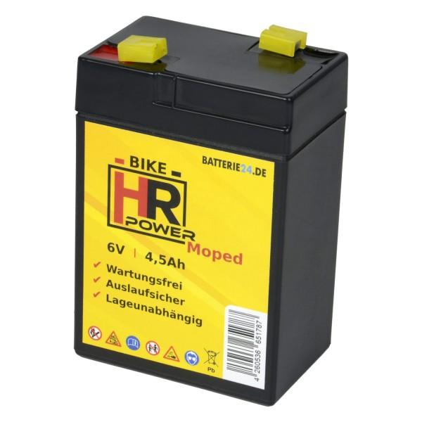 HR Bike Power GEL Moped Starterbatterie 6V 4,5Ah