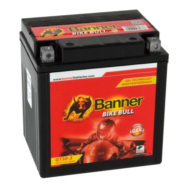 Banner Bike Bull Motorradbatterie GEL YTZ30L-BS GT30-3 12V 30Ah 53001