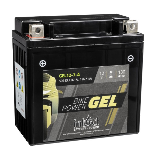 intAct Bike-Power Motorradbatterie GEL 12V 8Ah 12-7-A 50813