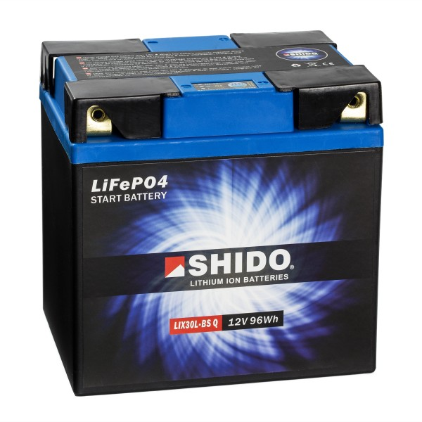 Shido Lithium Motorradbatterie LiFePO4 LIX30L-BS Q 12V