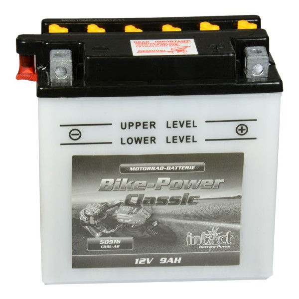 intAct Bike-Power Motorradbatterie Classic YB9L-A2 12V 9Ah 50916 trocken