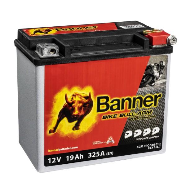 Banner AGM PRO Motorradbatterie 51621 ETX16 12V 19Ah