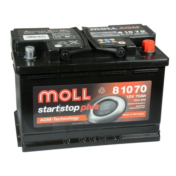 MOLL start stop plus AGM 81070 Autobatterie 12V 70Ah