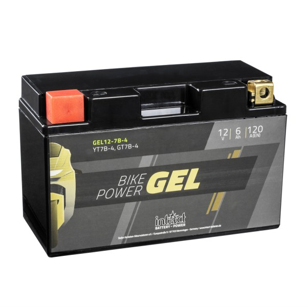 intAct Bike-Power Motorradbatterie GEL YT7B-4 12V 6Ah Gel12-7B-4