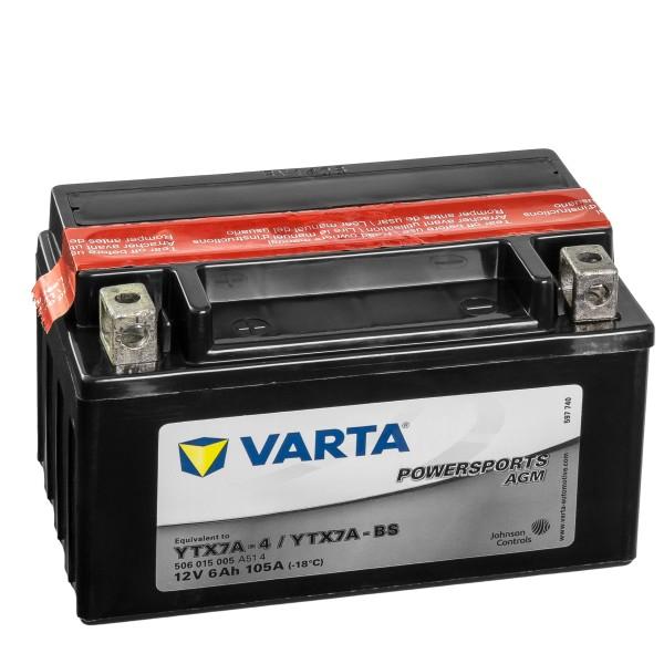 VARTA Powersports AGM Motorradbatterie YTX7A-4 YTX7A-BS 50615 12V 6Ah