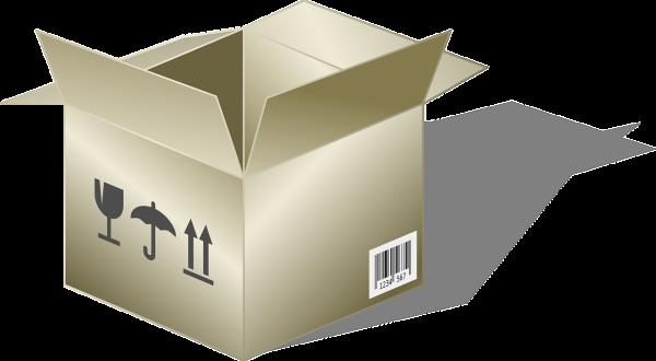 Leerkarton mit Füllmaterial und Versand-Etikett für die Rücksendung von Autobatterien