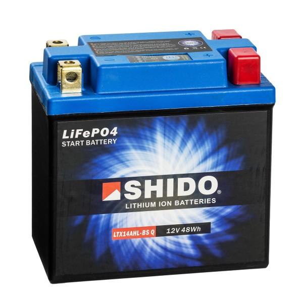 Shido Lithium Motorradbatterie LiFePO4 LTX14AHL-BS Q 12V
