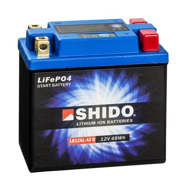 Shido Lithium Motorradbatterie LiFePO4 LB12AL-A2 Q 12V