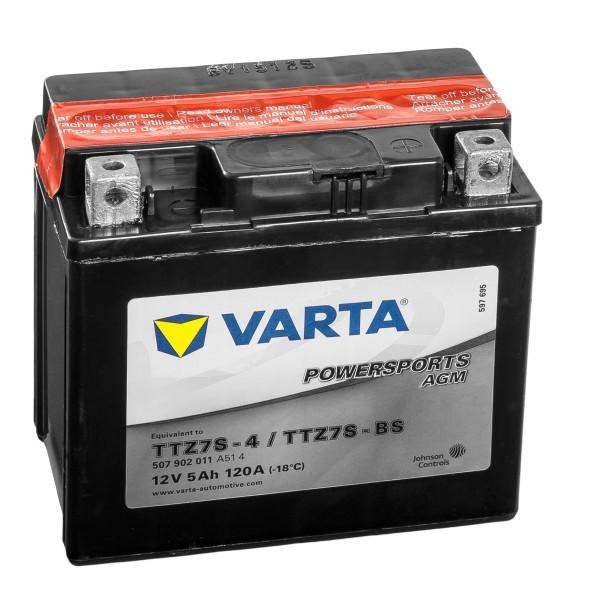 VARTA Powersports AGM Motorradbatterie YTZ7S-4 YTZ7S-BS 50616 12V 5Ah
