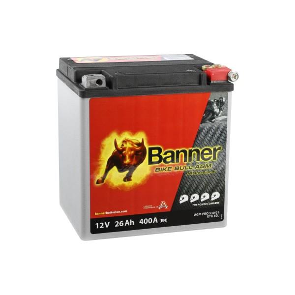 Banner AGM PRO Motorradbatterie 53001 ETX30L 12V 26Ah