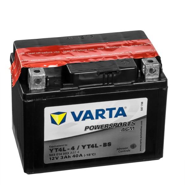 VARTA Powersports AGM Motorradbatterie YTX4L-4 YTX4L-BS 50314 12V 3Ah