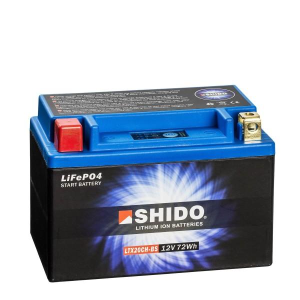 Shido Lithium Motorradbatterie LiFePO4 LTX20CH-BS 12V