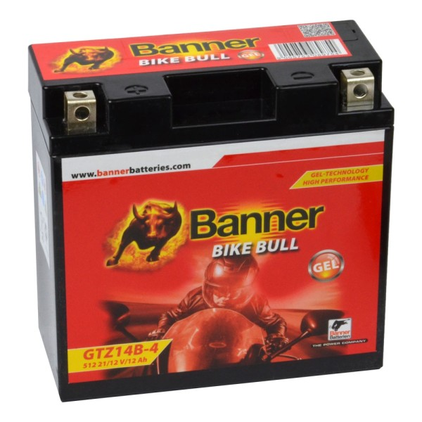 Banner Bike Bull Motorradbatterie GEL YT14B-4 GTZ14B-4 12V 12Ah 51221