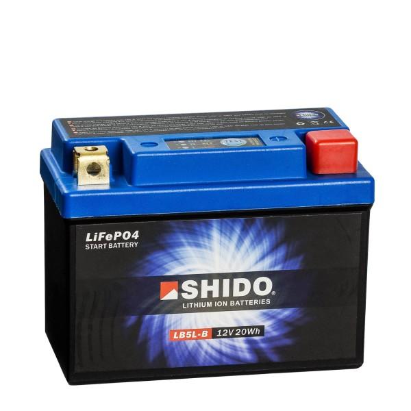 Shido Lithium Motorradbatterie LiFePO4 LB5L-B 12V