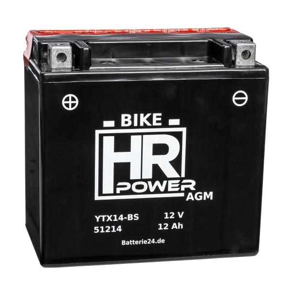 HR Bike Power AGM Motorradbatterie YTX14-BS 51214 12V 12Ah