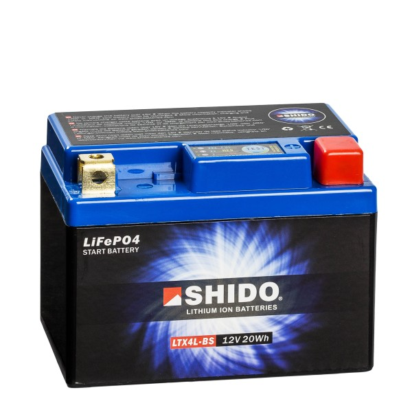 Shido Lithium Motorradbatterie LiFePO4 LTX4L-BS 12V