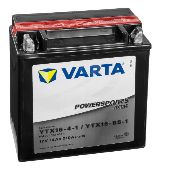 VARTA Powersports AGM Motorradbatterie YTX16-4-1 YTX16-BS-1 12V 14Ah