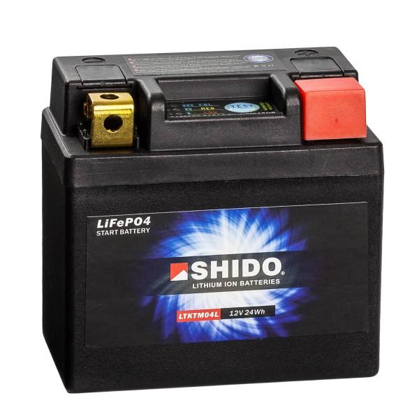 Shido Lithium Motorradbatterie LiFePO4 LTKTM04L 12V