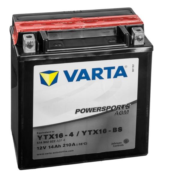 VARTA Powersports AGM Motorradbatterie YTX16-4 YTX16-BS 12V 14Ah