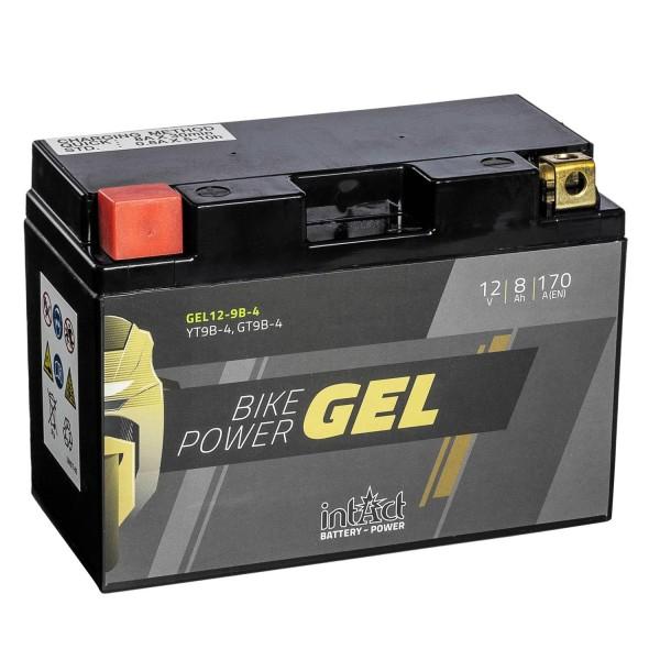 intAct Bike-Power Motorradbatterie GEL YT9B-4 12V 8Ah Gel12-9B-4