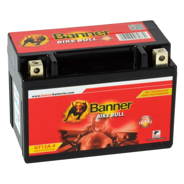 Banner Bike Bull Motorradbatterie GEL YT12A-BS GT12A-4 12V 10Ah 51021