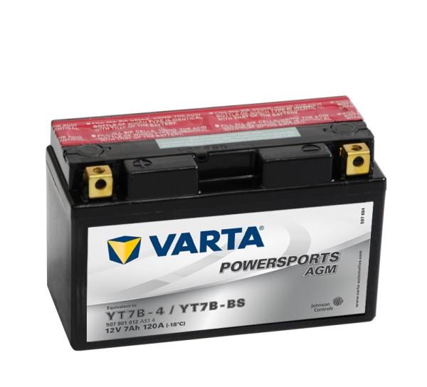 VARTA Powersports AGM Motorradbatterie YT7B-4 YT7B-BS 12V 7Ah