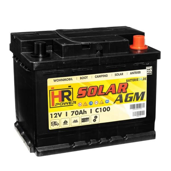 HR Solar AGM Versorgerbatterie 12V 70Ah