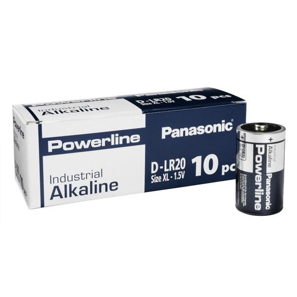 10x Panasonic Industrial Powerline D Mono Zellen LR20 Batterien