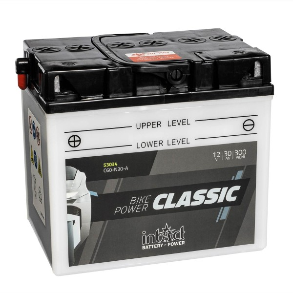 intAct Bike-Power Motorradbatterie Classic Y60-N30-A 12V 30Ah 53034 trocken