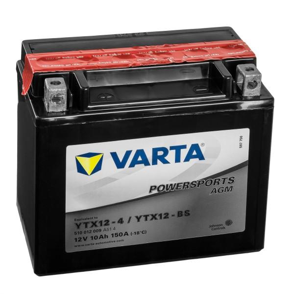 VARTA Powersports AGM Motorradbatterie YTX12-4 YTX12-BS 51012 12V 10Ah