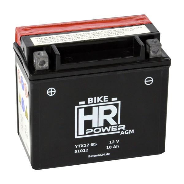 HR Bike Power AGM Motorradbatterie YTX12-BS 51012 12V 10Ah