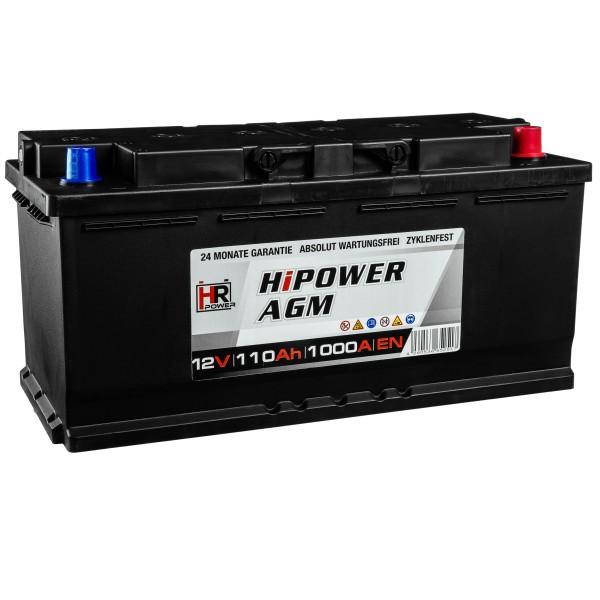 HR HiPower Autobatterie AGM Batterie 12V 110Ah