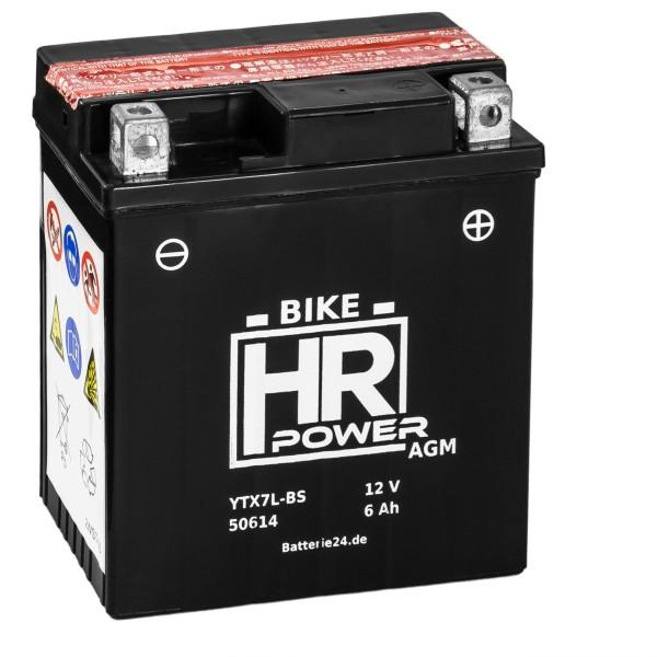 HR Bike Power AGM Motorradbatterie YTX7L-BS 50614 12V 6Ah