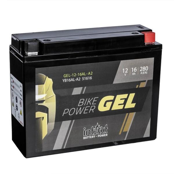 intAct Bike-Power Motorradbatterie GEL YB16AL-A2 12V 16Ah 51616 Gel12-16AL-A2