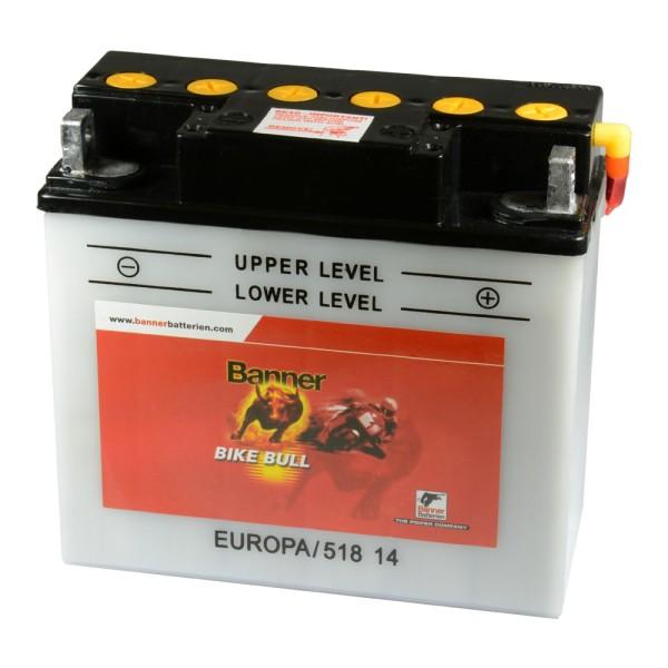 Banner Bike Bull Motorradbatterie 51814 12V 18 Ah BMW ohne ABS trocken